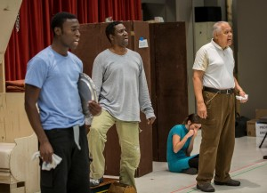 (L to R): Tosin Morohunfola, Cleavant Derricks and Larry Marshall in rehearsal