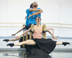 "Jonathan Fredrickson and Ana Lopez rehearsing for ""The Impossible"""