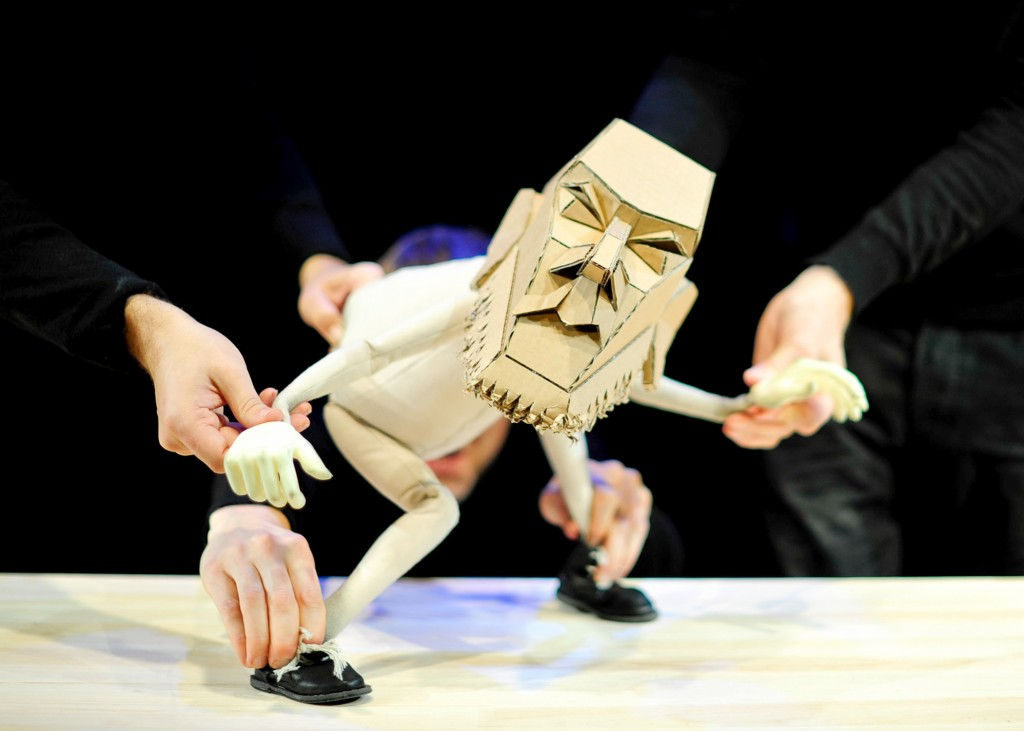 "Blind Summit puppeteers bring the cantankerous puppet Moses to life in """"the Table."" Photo by  Lorna Palmer"