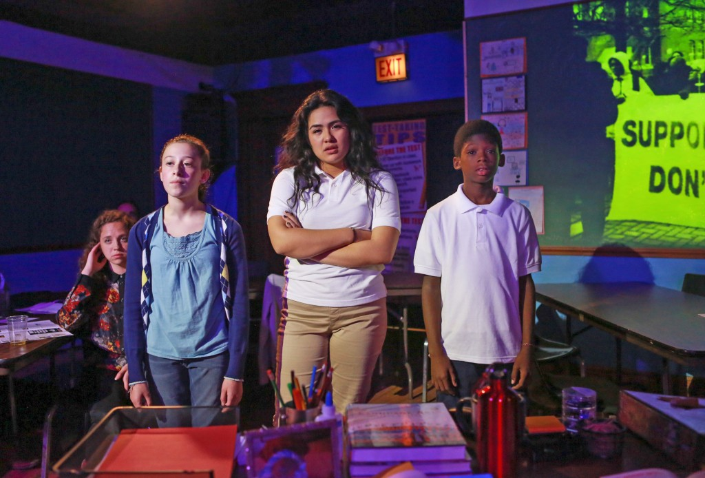 (from left) Collaboraction's world premiere of Forgotten Future: The Education Project stars Leah Aberman, a 7th-grader at Lane Tech Academic Center, as Lauren Perry; Esmeralda (Emse) Ayvar-Perez, a sophomore at Lane Tech High School, as Carolina Rodriguez; and Tyrese Hall, a 6th-grader at Alain Locke Charter School on Chicago's West side, as Issac Tate.