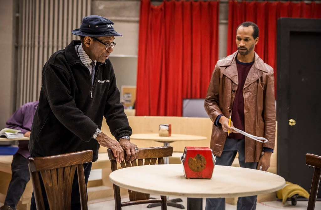 (L to R) Director Chuck Smith and Anthony Irons (Wolf) in rehearsal for Two Trains Running/Photo: Liz Lauren