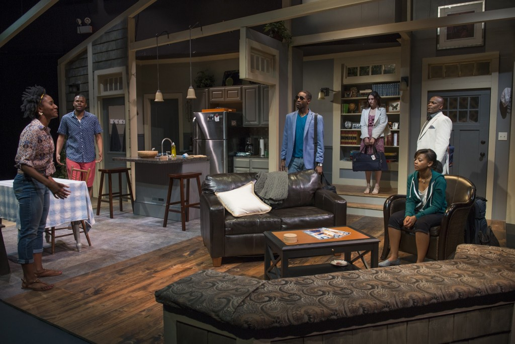 hoto Cred - Celeste M. Cooper, Tyrone Phillips, Michael Pogue, Kristen Magee, Paige Collins and Phillip Edward Van Lear in Lydia R. Diamond's STICK FLY. Photo by Michael Brosilow