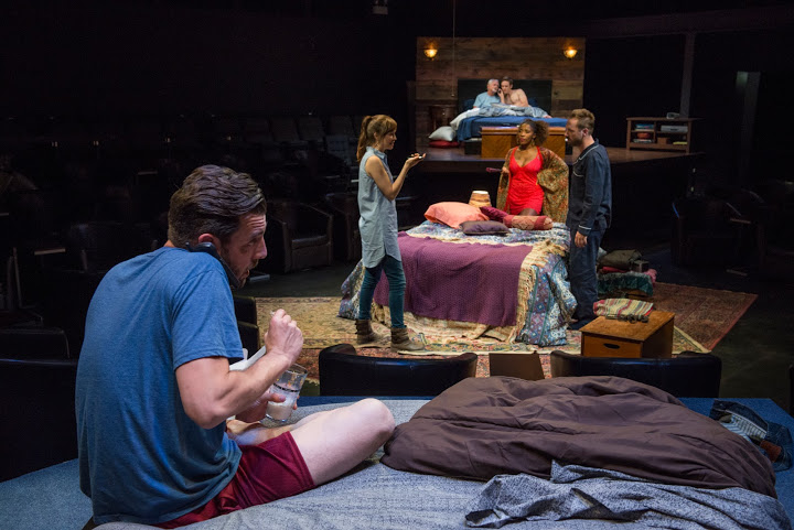 Peter Meadows (foreground), Emily Tate, Patrese McClain and Shane Kenyon (mid-ground), Robert Spencer and Chris Sheard (background) in THINGS YOU SHOULDN'T SAY PAST MIDNIGHT at Windy City Playhouse. Photo by Michael Brosilow